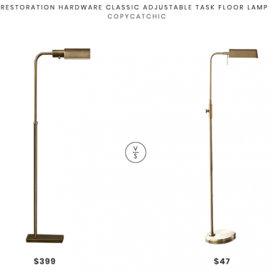 Restoration Hardware Classic Adjustable Task Floor Lamp $399 vs Target Pharmacist Task Floor Lamp $47 brass pharmacist task floor lamp look for less copycatchic luxe living for less budget home decor and design daily finds and room redos