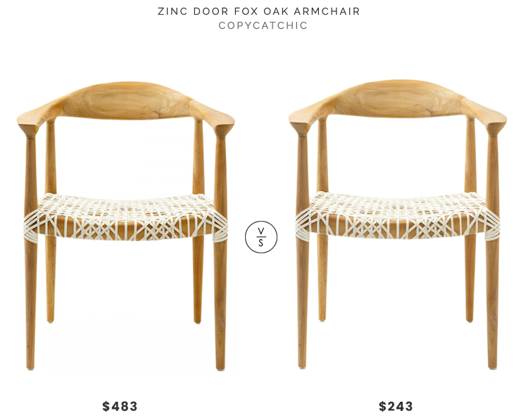 Zinc Door Fox Oak Armchair $483 vs Safavieh Home Collection Wade Light Oak Teak Wood Arm Chair $243 wood woven mid century arm chair look for less copycatchic luxe living for less budget home decor and design daily finds and room redos