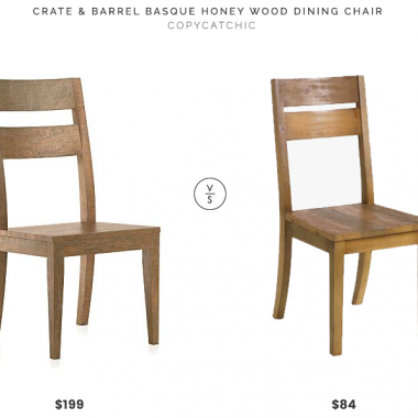 Crate & Barrel Basque Honey Wood Dining Chair $199 vs World Market Reclaimed Pine Nolan Dining Chair (set of 2) $168 reclaimed wood dining chair look for less copycatchic luxe living for less budget home decor and design daily finds and room redos