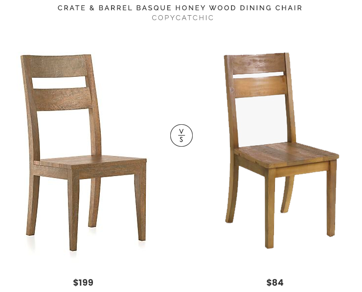 Crate U0026 Barrel Basque Honey Wood Dining Chair $199 Vs World Market  Reclaimed Pine Nolan Dining