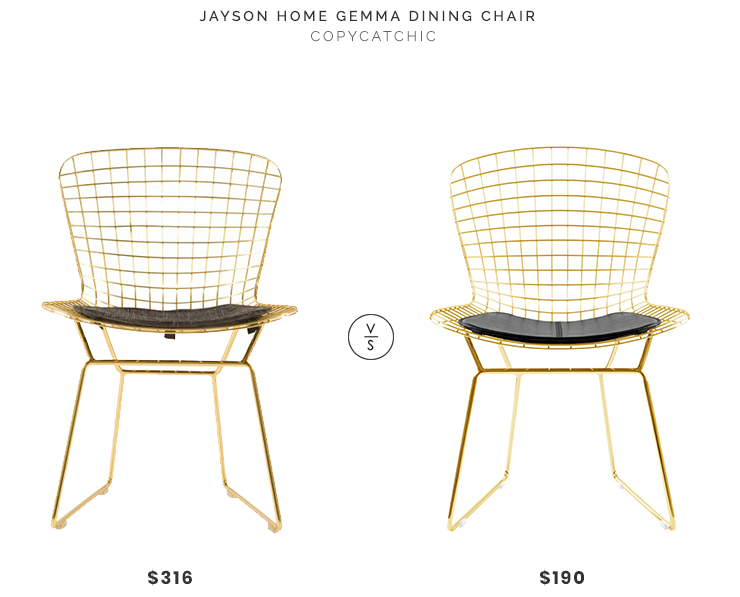 Jayson Home Gemma Dining Chair $316 vs Advanced Interior Design Bertoia Side Chair $190 gold wire bertoia chair look for less copycatchic luxe living for less budget home decor and design daily finds and room redos