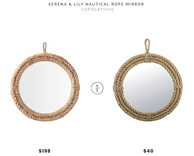 Serena & Lily Nautical Rope Mirror $198 vs Hayneedle Wrapped Rope Mirror $40 rope mirror look for less copycatchic luxe living for less budget home decor and design daily finds and room redos