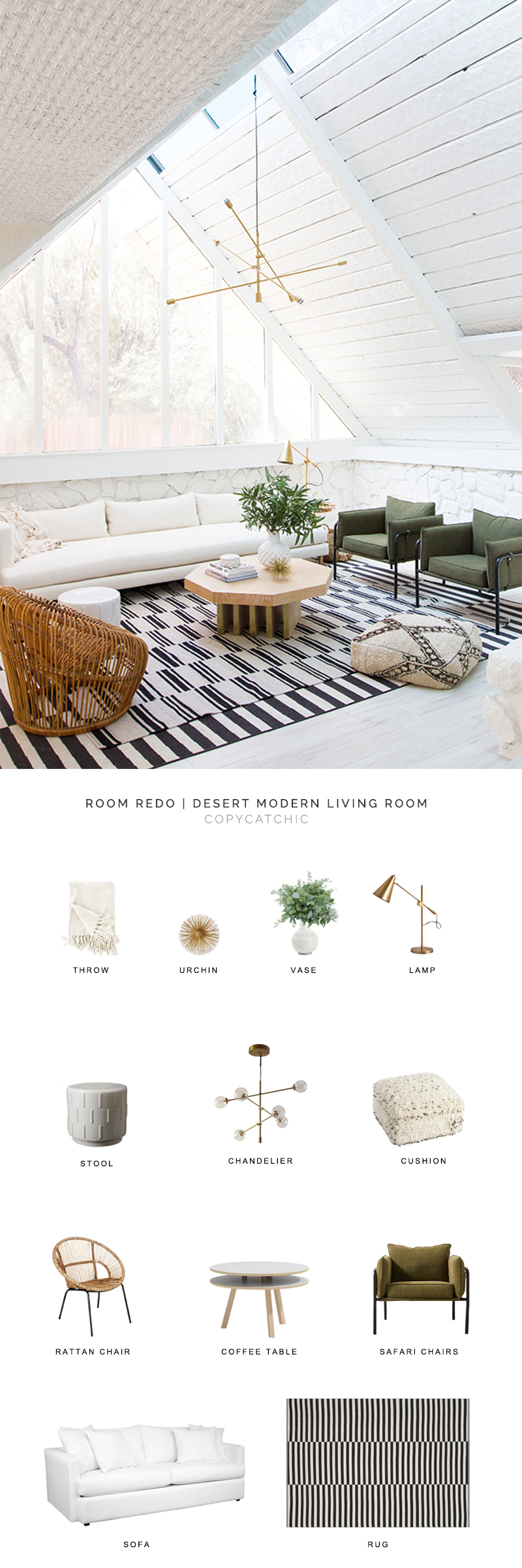 This desert modern living room by Sarah Sherman Samuel gets recreated for less by copycatchic luxe living for less budget home decor and design daily finds and room redos