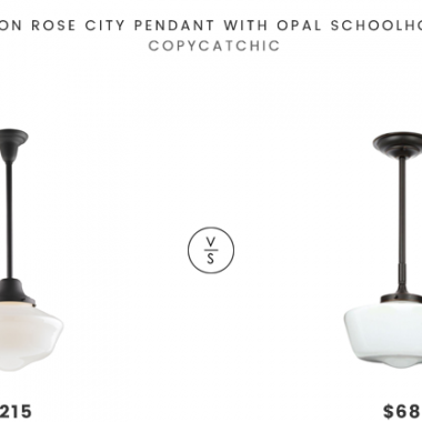 Rejuvenation Rose City Pendant with Opal Schoolhouse Shade $215 vs Home Depot World Imports Luray Collection Pendant $68 white glass schoolhouse pendant look for less copycatchic luxe living for less budget home decor and design daily finds and room redos