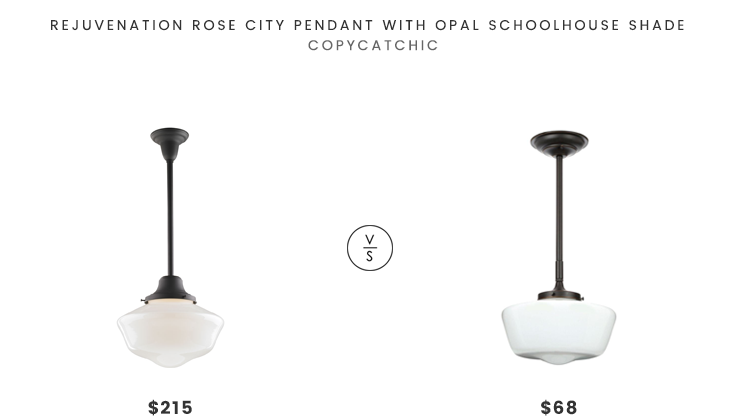 Rejuvenation Rose City Pendant with Opal Schoolhouse Shade $215 vs World Imports Luray Collection 1-light Pendant $68 Schoolhouse Pendant Light look for less copycatchic luxe living for less budget home decor and design daily finds and room redos