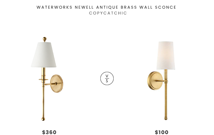 Viyet Waterworks Newell Antique Brass Wall Sconce $360 vs Lamps Plus Greta Warm Brass Wall Sconce $100 brass wall sconce look for less copycatchic luxe living for less budget home decor and design daily finds and room redos