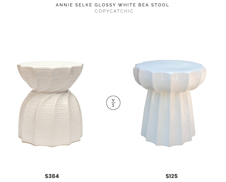 Annie Selke Glossy White Bea Stool $384 vs Wayfair Scalloped Garden Stool$125 white scalloped ceramic stool look for less copycatchic luxe living for less budget home decor and design daily finds and room redos