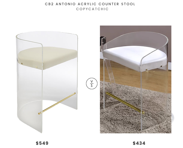 CB2 Antonio Counter Stool $549 vs All Modern Clairmont Acrylic Stool $434 modern acrylic stool look for less copycatchic luxe living for less budget home decor and design daily finds and room redos