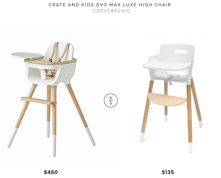 Crate and Kids Ovo Max Luxe High Chair $460 vs Modern White Wood Flexa High Chair $135 modern ovo white wood high chair look for less copycatchic luxe living for less budget home decor and design daily finds and room redos