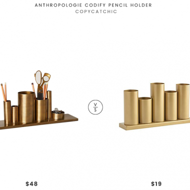 Anthropologie Codify Pencil Holder $48 vs Crate and Kids Gold Metal Storage Caddy $19 brass pencil holder look for less copycatchic luxe living for less budget home decor and design daily finds and room redos