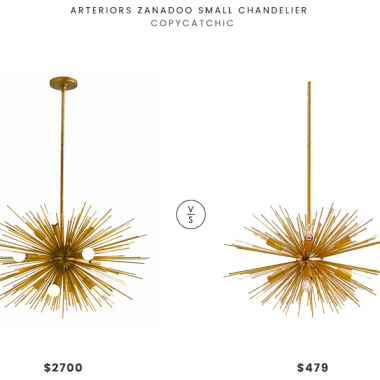 Arteriors Zanadoo Small Chandelier $2700 vs Pottery Barn Explosion Chandelier $479 starburst chandelier look for less copycatchic luxe living for less budget home decor and design daily finds and room redos