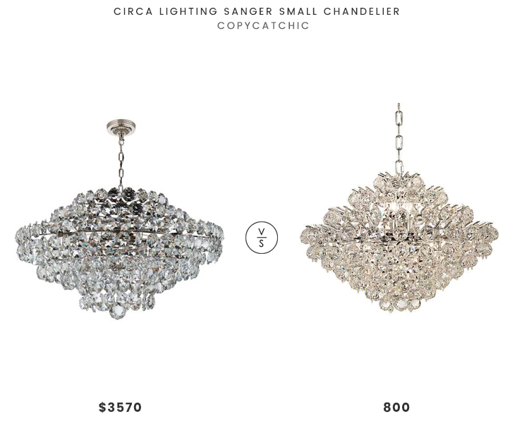 Circa Lighting Sanger Small Chandelier $3570 vs Lamps Plus Essa Wide Chrome-Crystal Pendant $800 crystal chandelier look for less copycatchic luxe living for less budget home decor and design daily finds and room redos