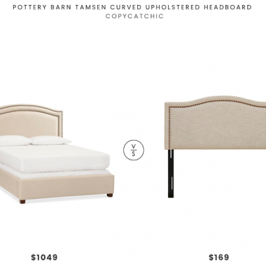 Pottery Barn Tamsen Curved Upholstery Headboard $1049 vs Designer Living Nadine Upholstery Headboard $169 Nailhead upholstered Headboard Look for Less copycatchic luxe living for less budget home decor and design daily finds and room redos