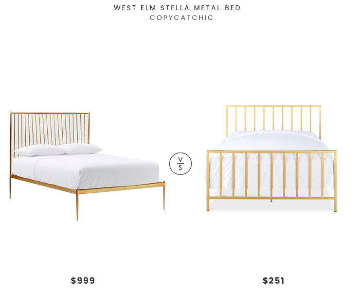 West Elm Stella Metal Bed $999 vs Macy's Slat Metallic Bed $251 modern brass spindle bed look for less copycatchic luxe living for less budget home decor and design daily finds and room redos
