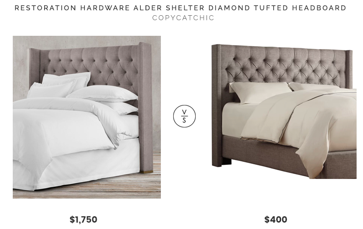 Restoration Hardware Alder Shelter Diamond Tufted Headboard$1,750 vs Joss and Main Drennen Upholstered Wingback Headboard$400gray grey tufted linen headboard look for less copycatchic luxe living for less budget home decor and design daily finds and room redos