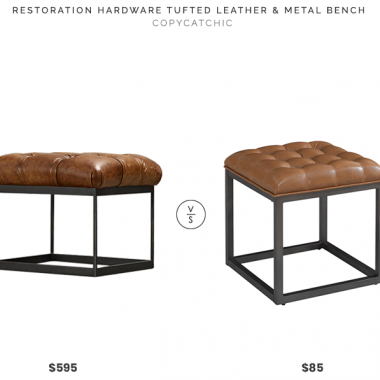 Daily Find | Restoration Hardware Tufted Leather and Metal Bench