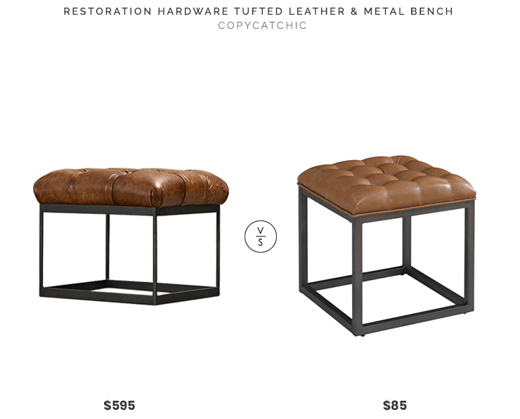 Restoration Hardware Tufted Leather & Metal Bench $595 vs Overstock Brin Mini Ottoman $85 leather and metal tufted stool look for less copycatchic luxe living for less budget home decor and design