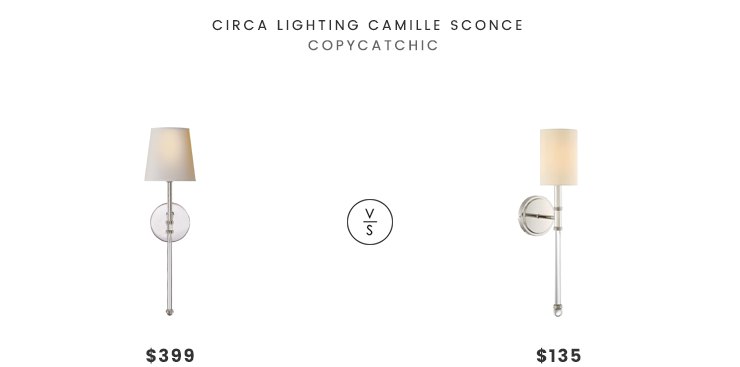 Circa Lighting Camille Sconce$399 vs1-800 Lighting Savoy House Fremont Wall Sconce $135 traditional glass arm sconce look for less copycatchic luxe living for less budget home decor and design daily finds and room redos