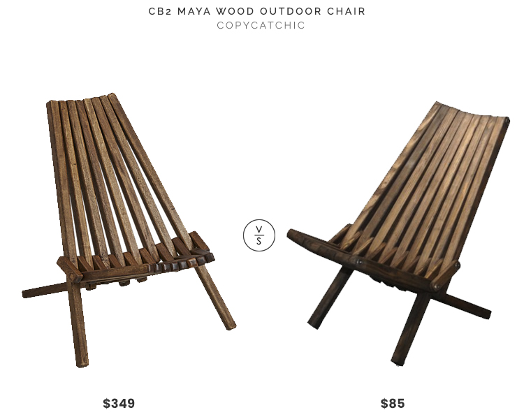 CB2 Maya Wood Outdoor Chair $349 vs GloDea Xquare X36 Foldable Wooden Patio Lounge Chair $85 danish stick chair look for less copycatchic luxe living for less budget home decor and design daily finds and room redos