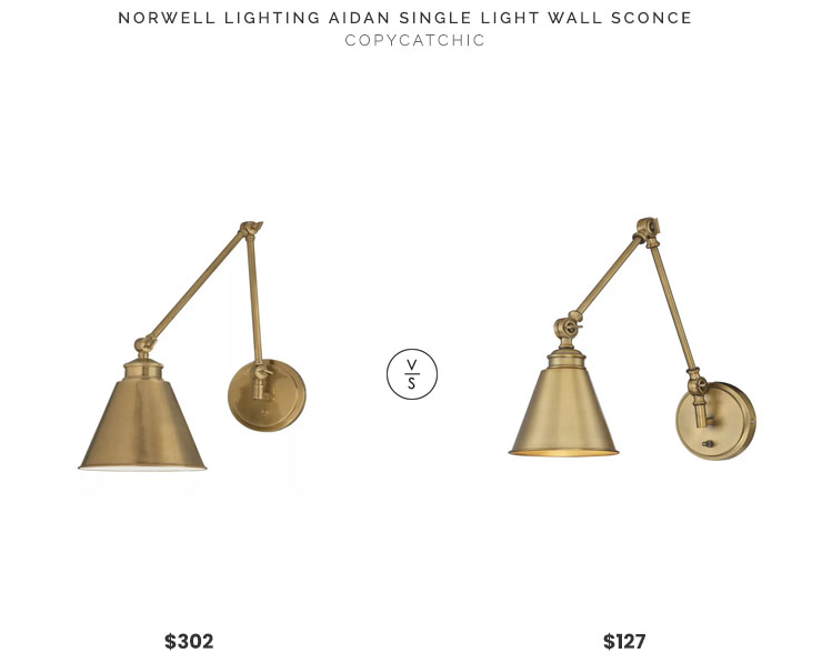 Norwell Lighting Aidan Single Light Wall Sconce $302 vs All Modern Waucoba Arm Lamp $127 brass arm wall sconce look for less copycatchic luxe living for less budget home decor and design daily finds and room redos