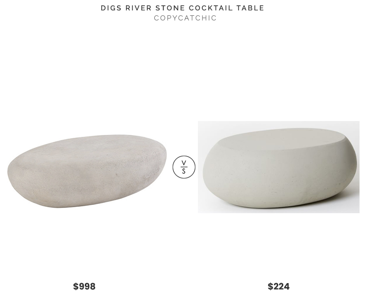 Digs River Stone Cocktail Table $998 vs West Elm Pebble Coffee Table $224 pebble coffee table look for less copycatchic luxe living for less budget home decor and design daily finds and room redos