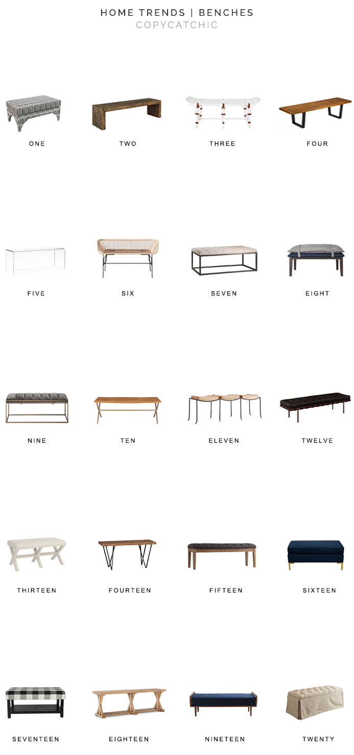 Home Trends | our favorite benches for every room in your home from copycatchic luxe living for less budget home decor and design looks for less