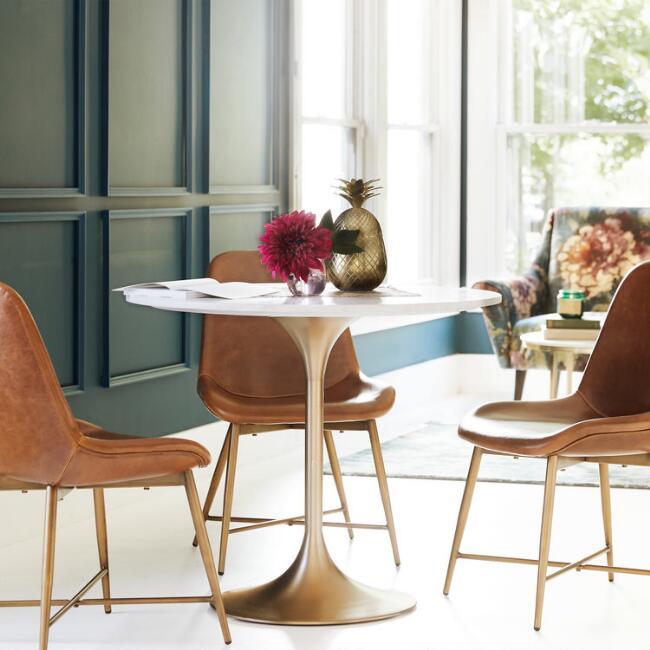 Daily Find | Nadira Antique Brass White Stone Tulip Bistro Table