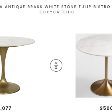 Daily Find | Nadira Antique Brass White Stone Tulip Bistro Table