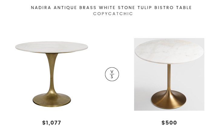 Kathy Kuo Home Nadira Antique Brass White Stone Tulip Bistro Table $1,077 vs World Market Gold And Marble Leilani Tulip Dining Table $500 marble and brass tulip bistro table look for less budget home decor and design daily finds and room redos