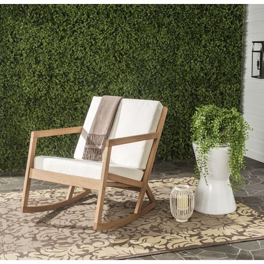 West Elm Vernon Outdoor Rocker $289 vs Safavieh Outdoor Vernon Rocking Chair $148 modern wood outdoor rocking chair for less copycatchic luxe living for less budget home decor and design daily finds and room redos