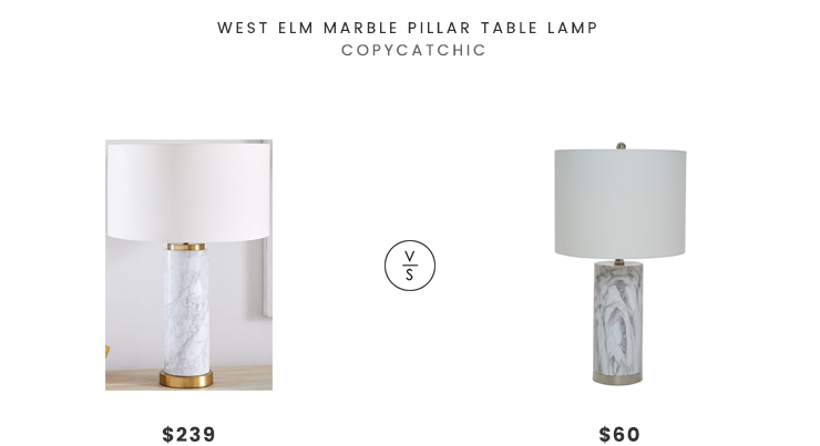 West Elm Marble Pillar Table Lamp $239 vs Overstock Catalina Lighting Amalfi Faux Marble Table Lamp $60 white marble table lamp look for less copycatchic luxe living for less budget home decor and design daily finds and room redos