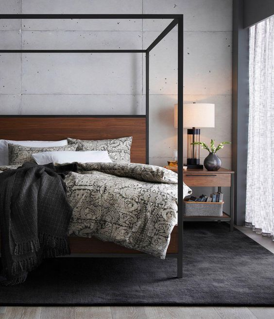 Crate and Barrel James Walnut with Black Frame Canopy Bed $2199 vs Etha Industrial Natural Stained Acacia Wood Queen Canopy Bed $336 industrial canopy bed look for less copycatchic luxe living for less budget home decor and design daily finds and room redos