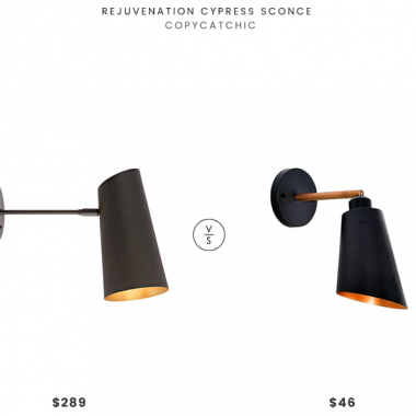 Rejuvenation Cypress Sconce $289 vs Bed Bath & Beyond Kenroy Home Alvar 1-Light Wall Mount Sconce $46 mid century black wall sconce look for less copycatchic luxe living for less budget home decor and design daily finds and room redos