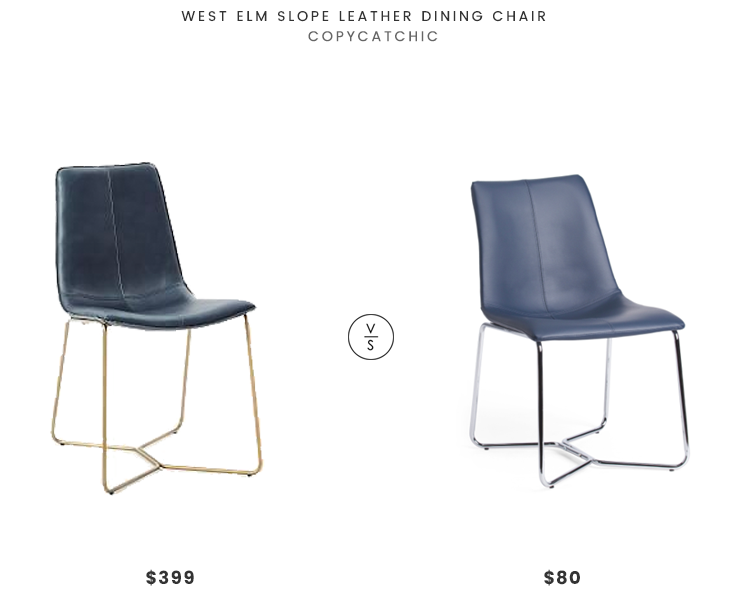 West Elm Slope Leather Dining Chair $399 vs TJ Maxx Chase Dining Chair $80 navy gold chair look for less copycatchic luxe living for less budget home decor and design daily finds and room redos