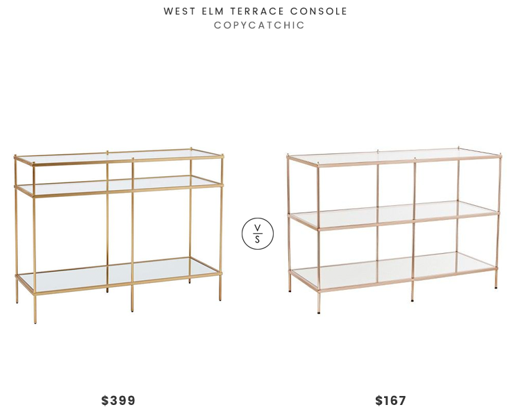 West Elm Terrace Console $399 vs Target Benton Console Table $167 brass and glass console table look for less copycatchic luxe living for less budget home decor and design daily finds and room redos