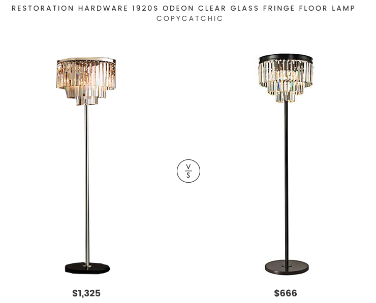 Restoration Hardware 1920s Odeon Clear Glass Fringe Floor Lamp $1325 vs Dimond Lighting Palatial Crystal Chandelier Floor Lamp $666 odeon floor lamp look for less copycatchic luxe living for less budget home decor and design daily finds and room redos