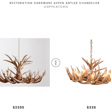 Restoration Hardware Aspen Antler Chandelier $2339 vs Cabela's Cascade Reproduction Whitetail Antler Chandelier $336 Restoration Hardware Antler Chandelier Look for Less copycatchic luxe living for less budget home decor and design daily finds and room redos