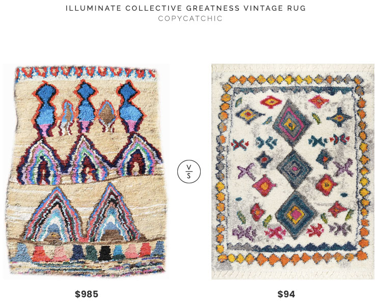 Illuminate Collective Greatness Vintage Rug $985 vs Rugs USA Radiance Moroccan Luxuriant Shag Rug $94 moroccan rug look for less copycatchic luxe living for less budget home decor and design daily finds, home trends and room redos