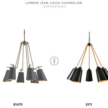 Jean Louis Chandelier $1470 vs Bed Bath and Beyond Kenroy Home Alvar Chandelier $171 modern black and brass chandelier look for less copycatchic luxe living for less budget home decor and design daily finds and room redos