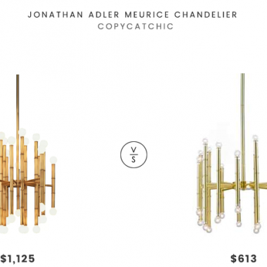 Jonathan Adler Meurice Chandelier $1125 vs Lamps Plus Possini Euro Hera Wide Satin Brass Chandelier $300 meurice modern brass chandelier for less copycatchic luxe living for less budget home decor and design daily finds and room redos