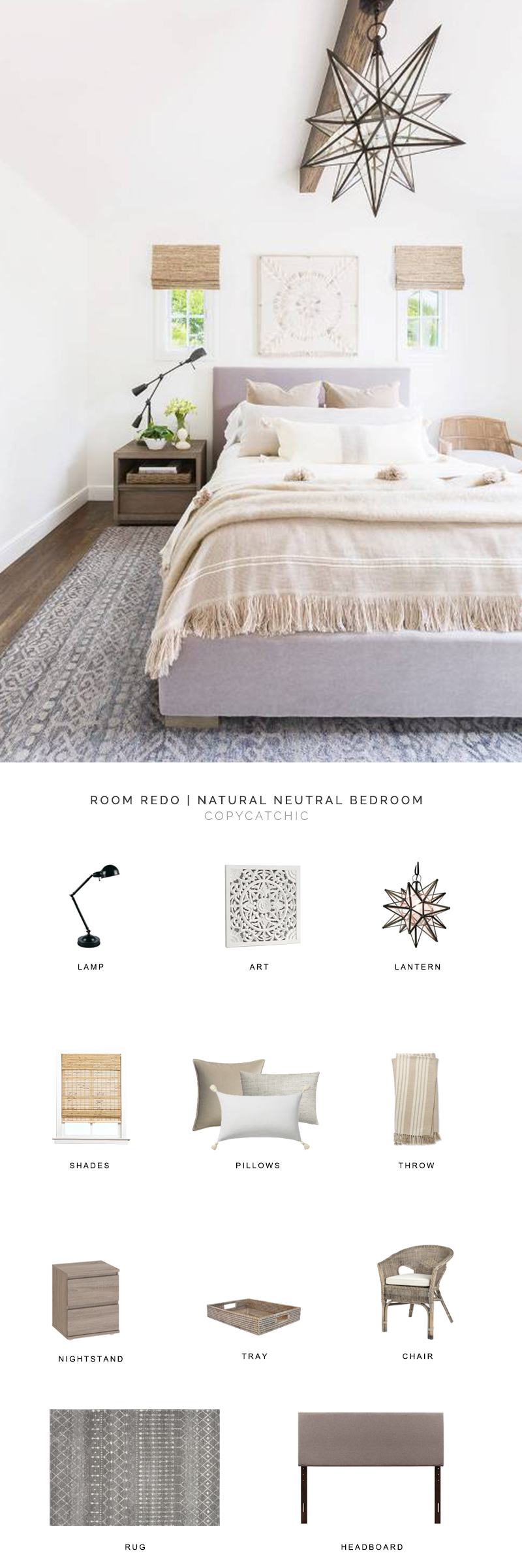 This neutral bedroom full of natural toned texture designed by Amanda Barnes and photographed by Alyssa Rosenheck is recreated for less by copycatchic luxe living for less budget home decor and design daily finds and room redos