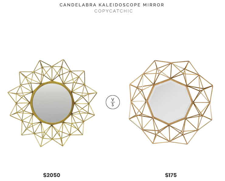 Candelabra Kaleidoscope Mirror $2050 vs Joss & Main Transitional Metal Frame Mirror $175 gold kaleidoscope mirror look for less copycatchic luxe living for less budget home decor and design daily finds, home trends an room redos