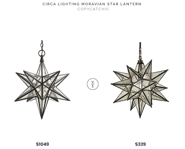 Circa Lighting Moravian Medium Star Lantern $1049 vs Ballard Designs Moravian Star Lantern $329 morovian star lantern chandelier pendant look for less copycatchic luxe living for less budget home decor and design daily finds and room redos