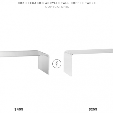 CB2 Peekaboo Acrylic Tall Coffee Table $499 vs Houzz Phantom Coffee Table $259 tall acrylic coffee table for less copycatchic luxe living for less budget home decor and design daily finds home trends and room redos