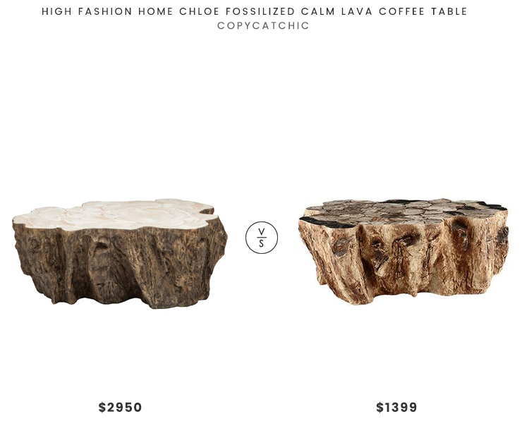 High Fashion Home Chloe Fossilized Calm Lava Coffee Table $2950 vs Arhaus Clayhill Coffee Table $1399 fossilized wooden coffee table look for less copycatchic luxe living for less budget home decor and design daily finds and room redos