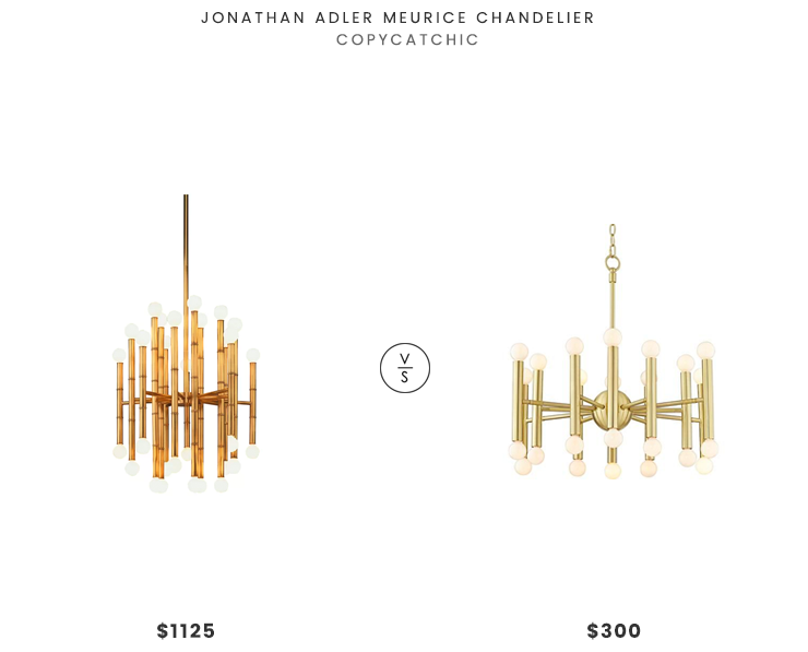 Jonathan Adler Meurice Chandelier $1125 vs Lamps Plus Possini Euro Hera Wide Satin Brass Chandelier $300 jonathan adler meurice modern brass chandelier for less copycatchic luxe living for less budget home decor and design daily finds and room redos