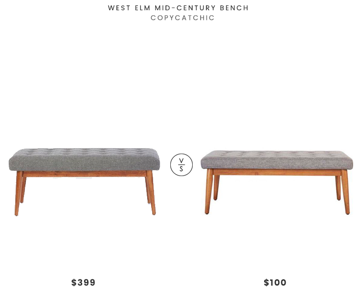 West Elm Mid-Century Bench $399 vs Chelsea Lane Baxter Dining Bench $100 mid century bench look for less copycatchic luxe living for less budget home decor and design daily finds home trends and room redos