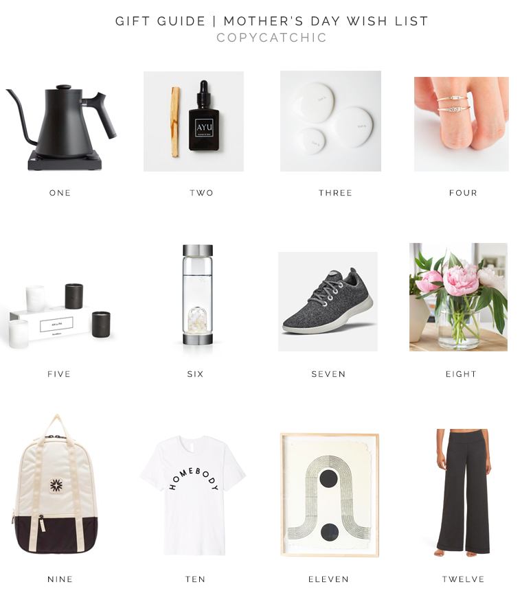 Modern minimalist gift ideas for Mothers Day. Gift guide Copy Cat Chic millennial favorites for chic minimalist modern moms | Luxe living for less