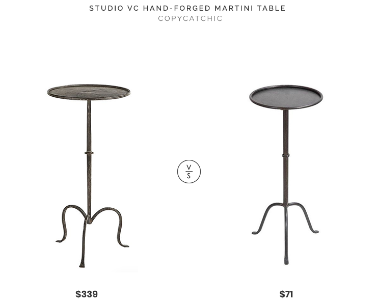 Studio VC Hand-Forged Martini Table$339 vs Rubbed Bronze Finish Metal Martini Table$71 iron hand forged martini end side table look for less copycatchic luxe living for less budget home decor and design daily finds, home trends and room redos