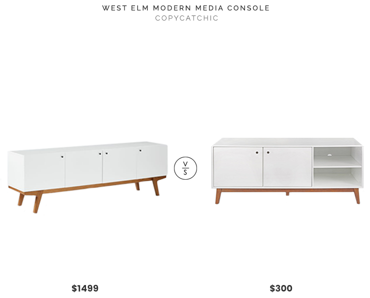 West Elm Modern Media Console $1499 vs Target Amherst Mid Century Modern Two Tone Media Stand $300 white wood mid century media console for less copycatchic luxe living for less budget home decor and design daily finds and room redos